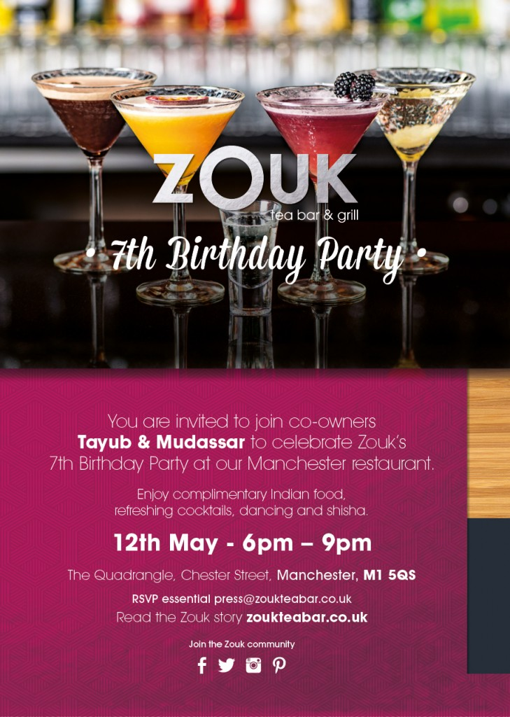 Zouk Birthday Manchester Restaurant Invite
